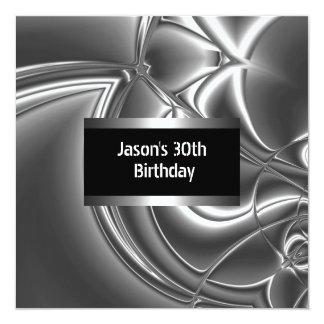 Metal el trigésimo para hombre de la plata blanca invitación 13,3 cm x 13,3cm
