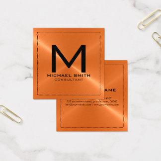 Metal inoxidable anaranjado moderno elegante del tarjeta de visita cuadrada