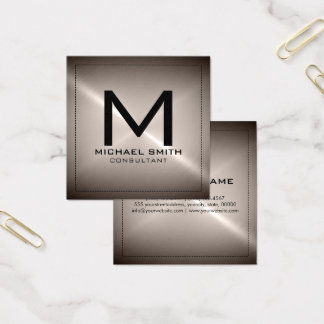 Metal inoxidable moderno elegante del monograma tarjeta de visita cuadrada