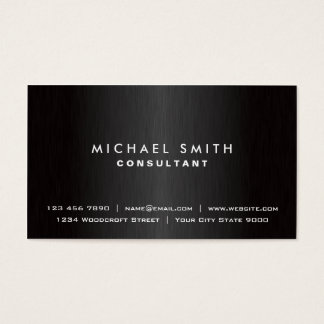 Metal moderno negro llano profesional elegante tarjeta de negocios