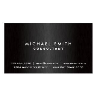 Metal moderno negro llano profesional elegante tarjetas de visita