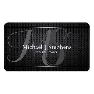 Metal negro profesional del monograma texturizado tarjetas de visita