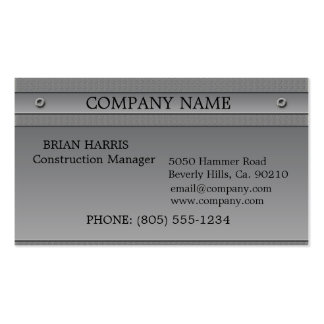 Metal plateado de la construcción grabado en relie plantilla de tarjeta de visita