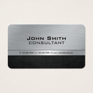 Metal plateado negro moderno elegante profesional tarjeta de negocios