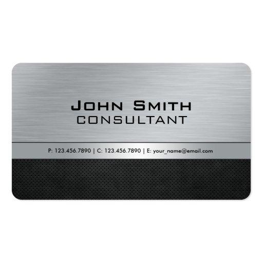 Metal plateado negro moderno elegante profesional tarjeta de visita