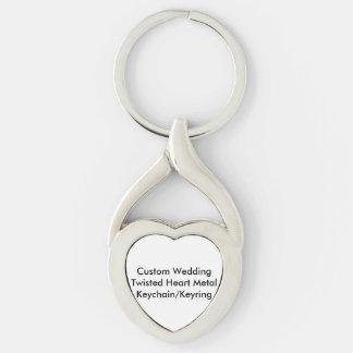 Metal torcido boda de encargo KeychainKeyring del Llavero Plateado En Forma De Corazón