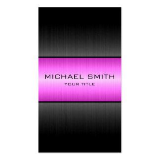 Metal violeta y negro del acero inoxidable tarjetas de visita