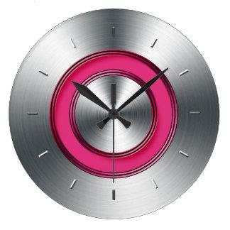 Metal y fucsia modernos del reloj de pared falsos