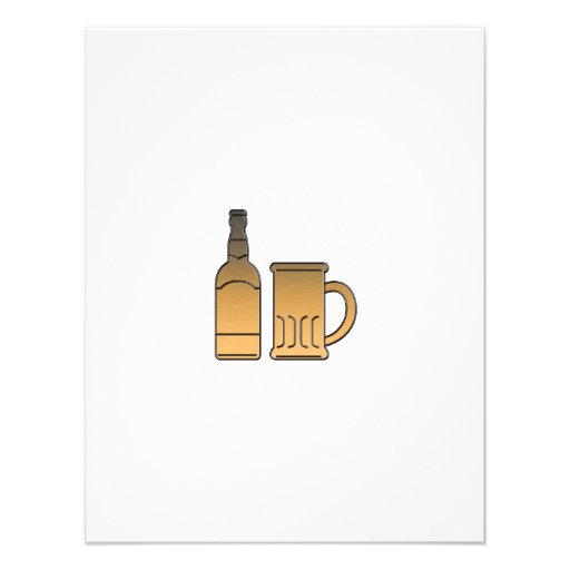 metálico aislada taza de oro de la botella de cerv invitación personalizada