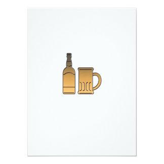 metálico aislada taza de oro de la botella de invitacion personal