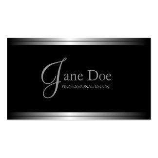 Metálico de plata negro elegante del servicio de tarjetas de visita
