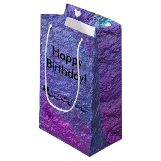 Metálicos púrpuras personalizan el texto bolsa de regalo pequeña