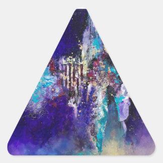 Metamorfosis que pinta el trabajo de arte pegatina triangular