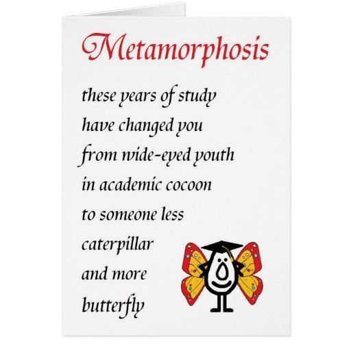 Metamorfosis - un poema divertido de la graduación felicitaciones