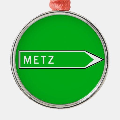 Metz, señal de tráfico, Francia Ornamento De Reyes Magos