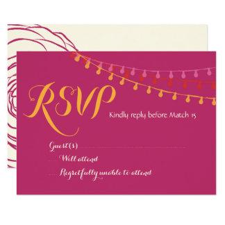 Mexicano colorido RSVP de la invitación del boda