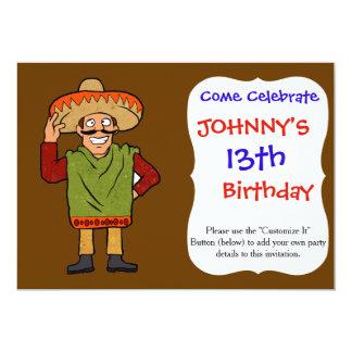 Mexicano feliz del dibujo animado invitación 12,7 x 17,8 cm