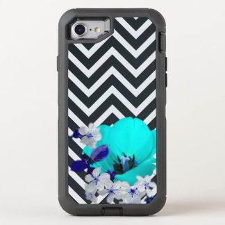 mezcla de la flor del galón blanco y negro, azul funda OtterBox defender para iPhone 7