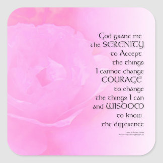 Mezcla del rosa del rosa del rezo de la serenidad pegatina cuadrada