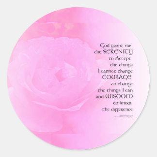 Mezcla del rosa del rosa del rezo de la serenidad pegatina redonda