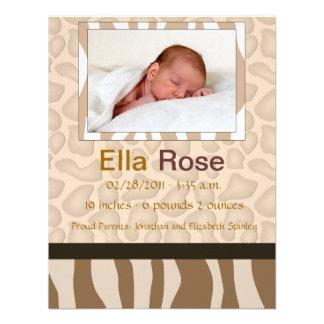 Mezcla del safari - nacimiento del bebé de la cebr invitaciones personalizada