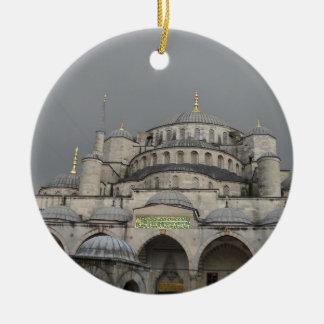 Mezquita azul en Estambul, Turquía Adorno Navideño Redondo De Cerámica