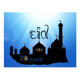 Mezquita con Sunrays - postal de Eid Mubarak