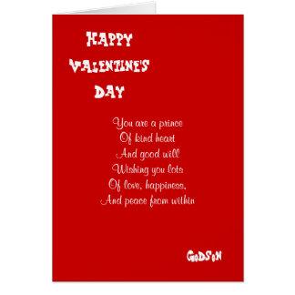 Mi ahijado el el día de San Valentín Tarjeta De Felicitación