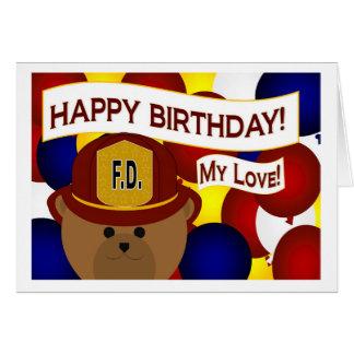 ¡Mi amor - héroe del bombero del feliz cumpleaños! Tarjeta De Felicitación