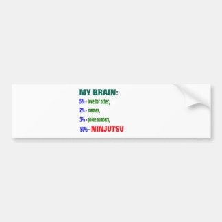 Mi cerebro el 90% Ninjutsu. Etiqueta De Parachoque
