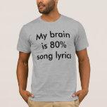 Mi cerebro es letras de la canción del 80% camiseta