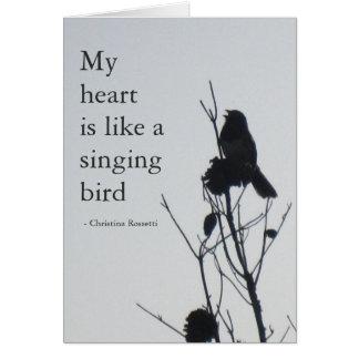 Mi corazón es como una tarjeta del pájaro del