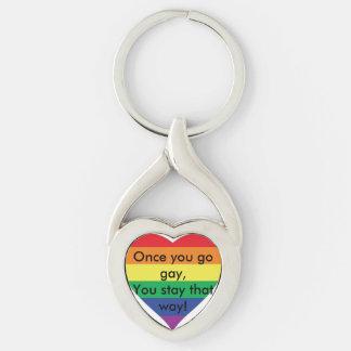 ¡Mi corazón es gay! Llavero Llavero Plateado En Forma De Corazón