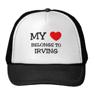 Mi corazón pertenece a IRVING Gorros Bordados