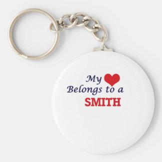 Mi corazón pertenece a Smith Llavero Redondo Tipo Chapa