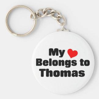 Mi corazón pertenece a Thomas Llavero Redondo Tipo Chapa