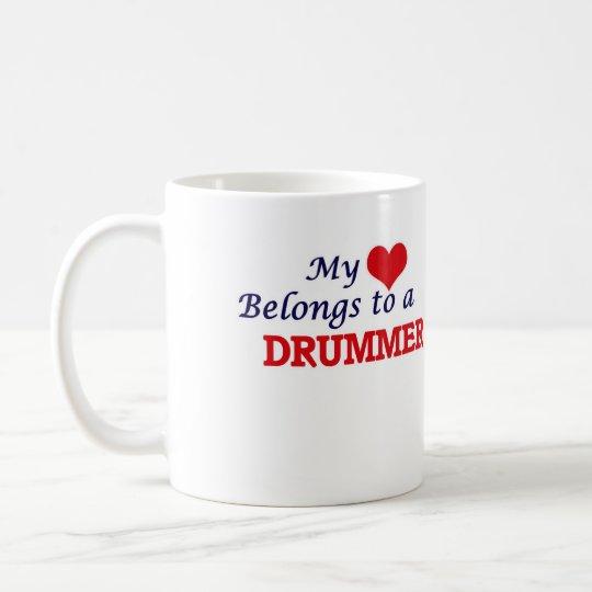 Mi corazón pertenece a un batería taza de café