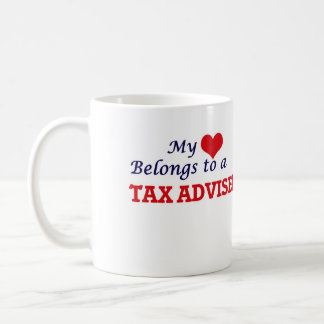 Mi corazón pertenece a un consejero de impuesto taza de café