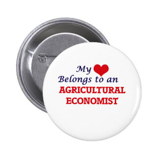 Mi corazón pertenece a un economista agrícola chapa redonda de 5 cm