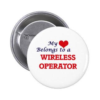 Mi corazón pertenece a un operador inalámbrico chapa redonda de 5 cm