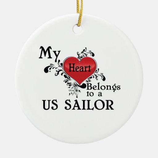Mi corazón pertenece a un ornamento del marinero d ornamento de reyes magos