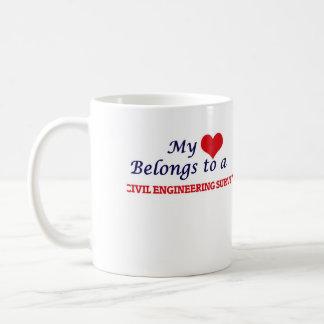 Mi corazón pertenece a un topógrafo del genio taza de café