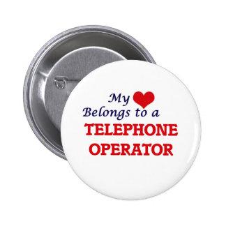 Mi corazón pertenece a una telefonista chapa redonda de 5 cm