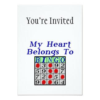 Mi corazón pertenece al bingo invitación 12,7 x 17,8 cm