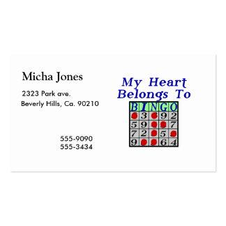 Mi corazón pertenece al bingo tarjetas de visita