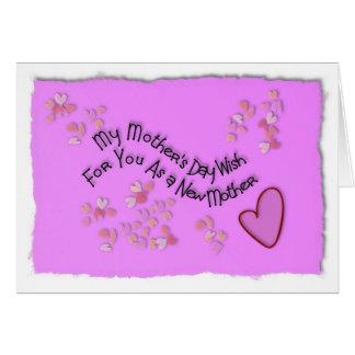 Mi deseo del día de madre para usted como nueva tarjeta de felicitación