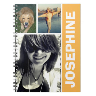 Mi diario anaranjado del collage de la foto de las libreta