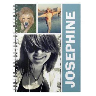 Mi diario azul del collage de la foto de las cosas libro de apuntes