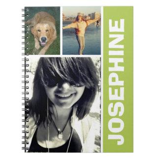Mi diario verde del collage de la foto de las cosa libros de apuntes
