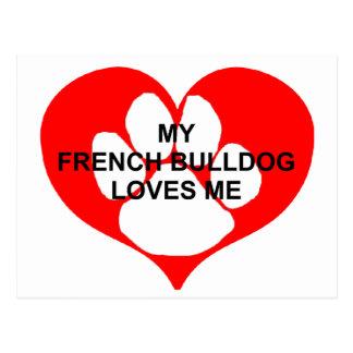 mi dogo francés ama me.png tarjetas postales